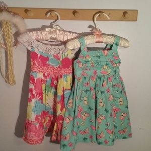 Pair of Size 2T Cotton Summer Butterfly Dresses